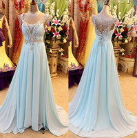 Wholesale 2015 Real Image Crystal Prom Dresses Evening Gowns A Line Sweetheart Light Sky Blue Beaded Long Formal Pageant Gowns Party Dresses Cheap