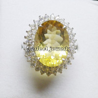 Gemstone Ring 925 sterling silver Natural citrine ring 925 sterling silver plated 18k white gold Perfect jewelry DH#14040111