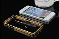 Wholesale cross case colorful Champaign Gold CROSS LINE mm metal bumper Case for iphone S s