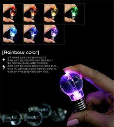 Wholesale New Colorful LED Bulb Pendents Rainbow LED Light Bulb Key Chain Color Change Lamp Globe Ring Lantern Decoration Romantic Lover Bulb Necklace