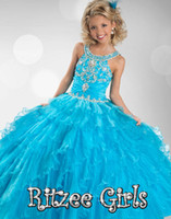 Wholesale 2014 Cheap Blue Pageant Dresses For Girls Floor Length Little Girls Pageant Dresses Ball Gown Flower Girl Dresses Pageant Cupcake Dresses