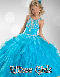 Blue Pageant Dress For Girls Long Length Little Girls Pageant Dresses Ball Gown Flower Girl Dresses For Wedding Cupcake Dresses