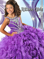 Wholesale 2014 Cheap Purple Pageant Dresses For Girls Floor Length Little Girls Pageant Dresses Ball Gown Flower Girl Dresses Pageant Cupcake Dresses