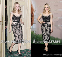 Wholesale Black sexy applique lace celebrity dresses tea length off the shoulder backless sheath formal short style evening prom gowns BO3644