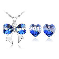 austrian crystal ornaments - 2014 K gold plated crystal ornaments Austrian crystal butterfly necklaces amp pendants Heart Earrings wedding jewelry Sets