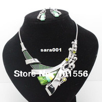 Cheap Fashion designer brand high quality bridal alloy jewelry sets costume vintage necklace and earrings sets for women free shipping