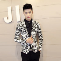 Wholesale Men s Brand Clothing Men s Slim Blazer Fashion Zebra Print All match Blazers M XL