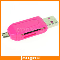 Wholesale USB Male To Micro USB Dual Slot OTG Adapter With TF SD Card Slot Reader For Android Smartphone Tablet