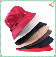 Wholesale 5pcs Spring Summer Men and Women Fashion Outdoor Climbing Fishing Hat Bucket Hat Foldable Rope Round Cap Sun Hat