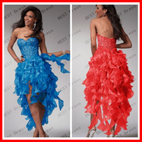 Reference Images Sweetheart Chiffon Customize Your Own 2014 High Quality Sexy corset Beading Sweetheart Strapless High Low Prom Dresses