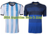 Wholesale 2014 Argentina World Cup jerseys thai quality home and away argentino soccer jerseys custom team jerseys discount soccer uniform kits shirt