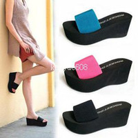 Wholesale summer platform sandals elastic strap wedges a word Drag female sandals color