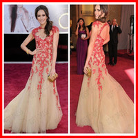 Reference Images Chiffon Sleeveless 2014 High Quality Open Back Applique Lace Under 50 Celebrity prom dresses