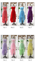 Wholesale 2014 Sexy New High Low Color Chiffon Bridesmaid Dresses Evening Party Prom Dresses Ball Gown US Size Custom Size Z220