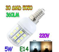 Corn SMD 5W E14 E27 G9 B22 GU10 5W 30 5050 SMD LED Light Bulb White Warm White 220V 110v Corn Light spotlight LED Lamp bulbs With Cover