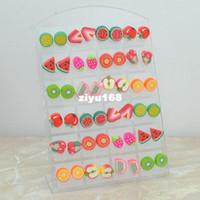 Stud Stud Earrings Earrings Wholesale Fashion Cute Young Polymer clay Stud Earrings Glue needle Not allergic fruit style Free 0 E421