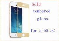 Wholesale colorful MM D Anti crack Explosion tempered glass Screen Guard Protector Film for iphone S C with plastic Retail package gold
