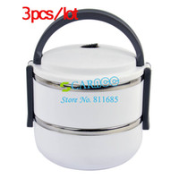 Ceramic Dinnerware Sets Eco-Friendly 3pcs lot White Two Layer Stainless Steel Children Lunch Box 1.4L Keep Warm Food Container For Kids 15039