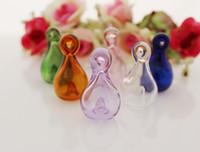 Wholesale 10pcs x32MM Perfume vial pendant Aroma vial pendant murano glass essential oil diffuser bottle pendant essential oil vial
