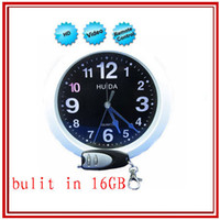 16G   SG POST FreeShiping 16GB 720*480p Wall Clock hidden spy Camera with Remote Control mini clock spy video recorder camcorder