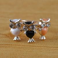 Band Rings Party Fashion Fashion jewellery cute rhinestone owl adjustable finger ring set 1set=3pcs wholesale R591
