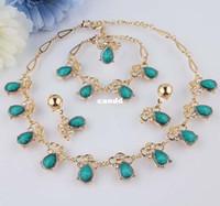 New Gold Filled 18K collar de cristal de la turquesa austríaco claro anillo del pendiente de la pulsera de la joyería