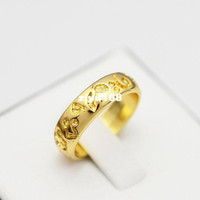 Wholesale New fashion jewelry K gold plated print flower finger rings for women girl R821