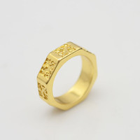 Band Rings 10k gold ring - New fashion jewelry K gold plated Carving finger rings for women girl R820