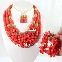 Wholesale Fashion Design African Coral Beads Bridal Jewelry Set Elegant Pink Coral Wedding Jewelry Set Hot CNR133