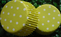 cute lovely sweet hot 500 yellow polka dot white Cupcake muffin liners baking cup