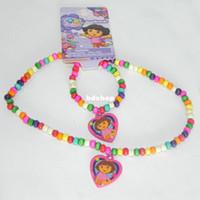 Bracelet,Earrings & Necklace Party Jewelry Sets Handmade children's jewelry Sets! Fashion children kids candy color wood bead Lovely Dora necklace+bracelet Sets PAS-3041