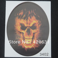 Plastic   Motorcycle Car Auto Racing Decal Sticker FlaMes Skull Free Shipping