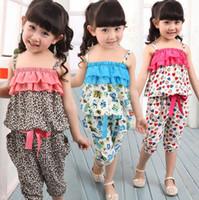 Wholesale Summer Children Clothing Set Chiffon Tracksuit Leopard Grain Bohemia Style Gallus Shirt Points Pants Girl Sets Kids Sport Suit GX79