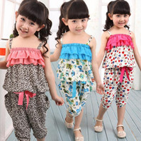 Wholesale Summer Children Clothing Set Chiffon Tracksuit Leopard Grain Bohemia Style Gallus Shirt Points Pants Girl Sets Kids Sport Suit GX79