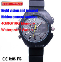 Wholesale New HD IR Camera night vision p Spy Hidden camera watch Waterproof Design ATM GB GB GB DHL