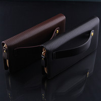 Wholesale Spot men s leather men s business type pull clutch purse with a handle made of high end brands