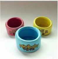 Wholesale Small ceramic bowl candy color style bowl hamster supplies hamster cage