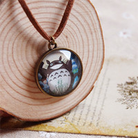 Pendant Necklaces asian japanese - Japanese Anime Totoro Pendant Necklace Leather Cord Long Necklaces Handmade Copper Jewelry for Friends xl003