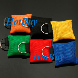 Wholesale Disposable CPR Mask Keychain Emergency Resuscitator Way Valve Face Shield Random Colors