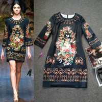 Wholesale New Arrival Women s O Neck Classic Vintage Printed Sleeves Floral Runway Dresses with Plus Sizes