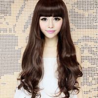 Wholesale 2014 New Elegant Women s Big Curly Wave Long Wig With Qi Bang Black Dark Light Brown Synthetic Party Cosplay Hair Piece L04019