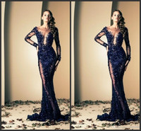 Ziad Nakad sheer evening dresses 2014 Sexy Sequin mermaid Cr...