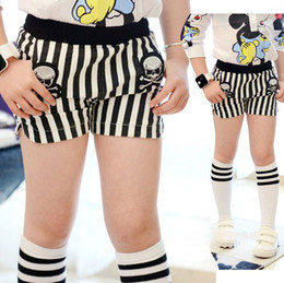 Wholesale girl shorts girl Summer short Black and white vertical stripes shorts girl hot shorts Children Shorts