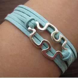 Wholesale Puzzle Piece and Autism Awareness Bracelet in Silver Bronze JigSaw Puzzle Graduation Friendship Braidsmaid Gift