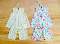 Cheap 2014 Brand New Kids Baby Dress& pants Sets Girls Infant Cotton Clothing Casual Dress Spring Summer Cute Clothes 5pcs lot