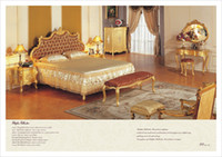 Wholesale antique home furniture solid wood hand carving bedroom set