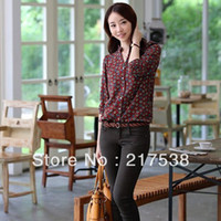Women Polyester Button Fall Chiffon Full Sleeve Shirts Stand Collar Button Down Purplish Red Polka Dots Slim Tops s S M L 651903 1PC