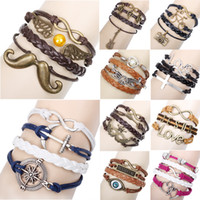 Wholesale 2014 New Fashion Alloy Anchor Rudder Leather Woven Friendship Love Couple Charm Bracelet drop shipping
