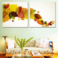 Graphic vinyl PVC Animal 2 Panels Combination Colorful Leaves Art Pictures Wall Paintings on UV Prints for Kitchen Dining No Frame Each Size 18*18cm