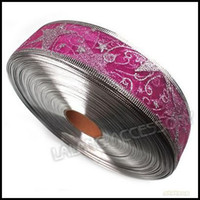 Wholesale 3 troll Fashion Light Purple Organza Silver Edged Wired Christmas Ribbon with Star Patterns m